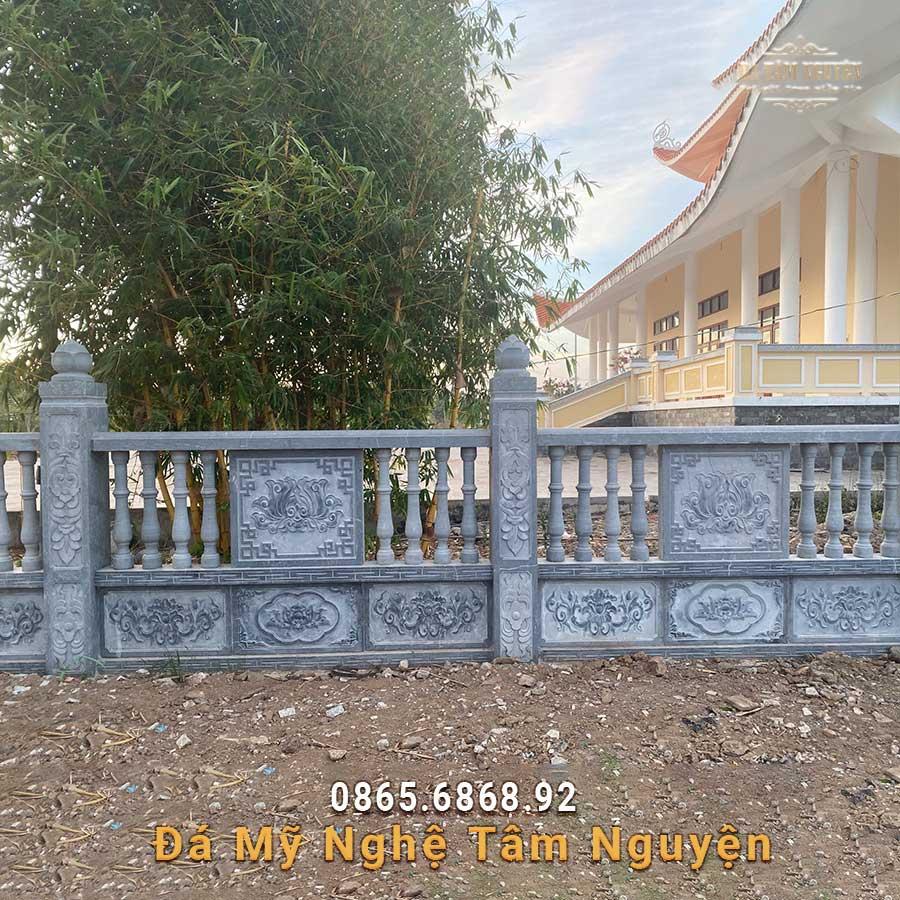 Lan can đá hoa văn Sen cho đình chùa